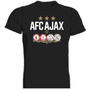 Ajax t-shirt zwart 4 logo's 3 sterren – MAAT 116